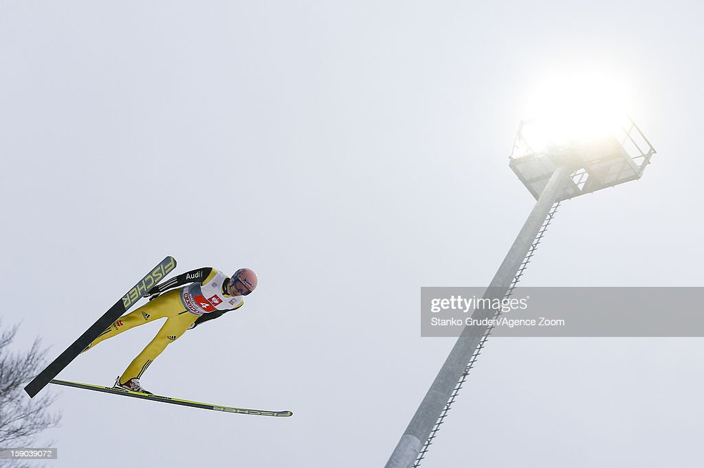 Michael Meumayer of Germany during the FIS Ski Jumping World Cup Vierschanzentournee (Four Hills Tournament) on January 06, 2013 in Bischofshofen, Austria.