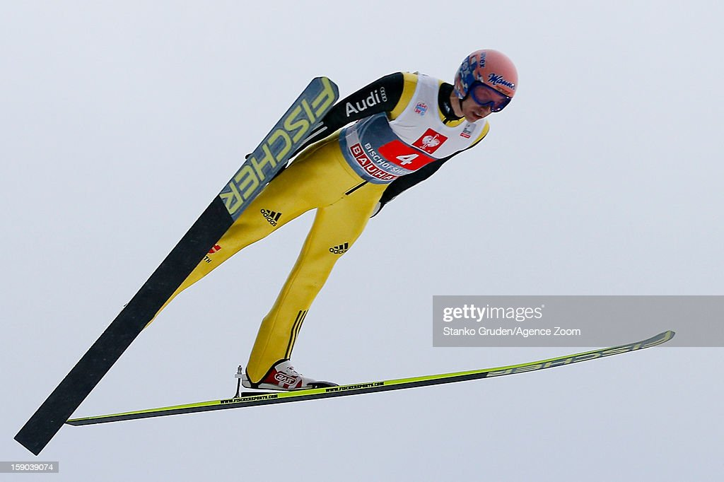 Michael Meumayer of Germany during the FIS Ski Jumping World Cup Vierschanzentournee (Four Hills Tournament) on January 06, 2013 in Bischofshofen, Austria.
