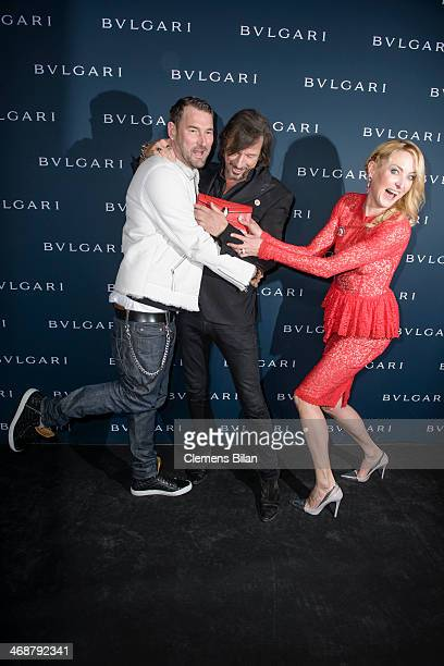 Michael Michalsky Tom Lemke and Lilly zu SaynWittgensteinBerleburg attend the 130 years of glam culture party by Bulgari at Kaufhaus Jandorf on...
