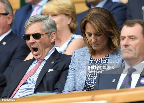 Michael Middleton and Carole Middleton attend day four of the Wimbledon Tennis Championships at Wimbledon on June 30 2016 in London England