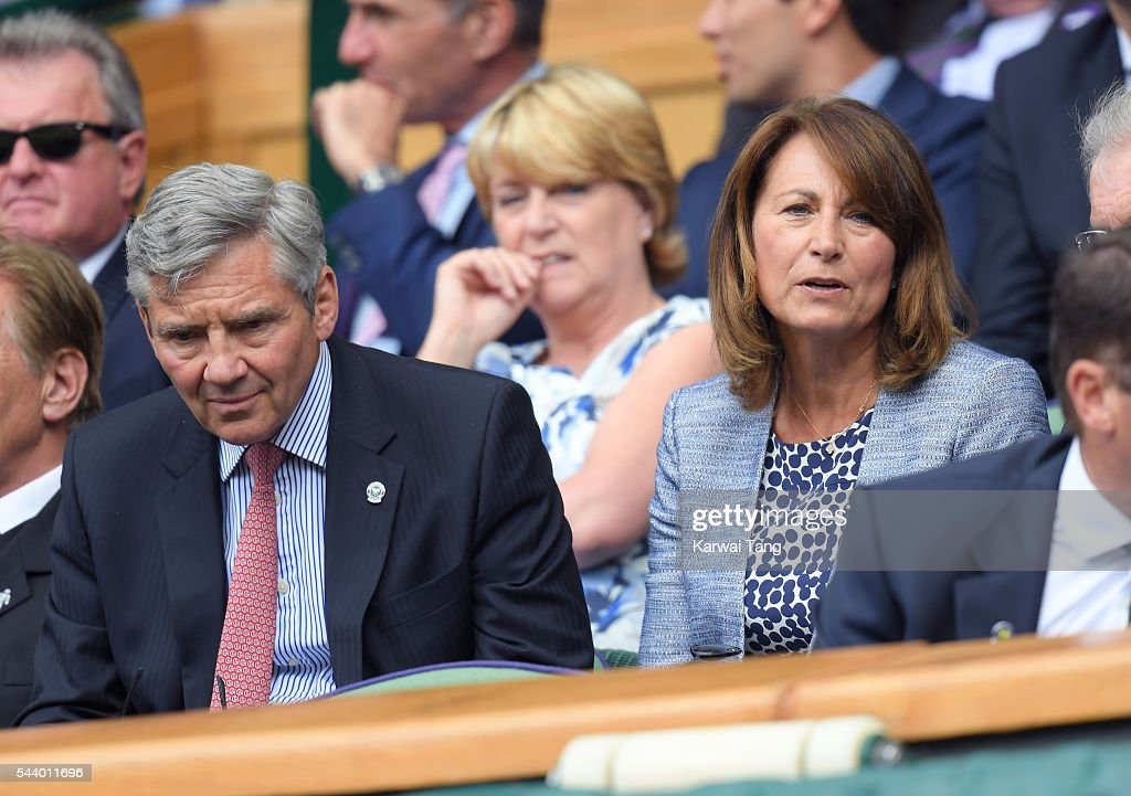 Michael Middleton and <a gi-track='captionPersonalityLinkClicked' href=/galleries/search?phrase=Carole+Middleton&family=editorial&specificpeople=4079988 ng-click='$event.stopPropagation()'>Carole Middleton</a> attend day four of the Wimbledon Tennis Championships at Wimbledon on June 30, 2016 in London, England.