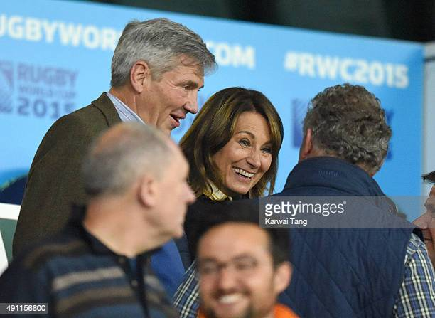 Michael Middleton and Carole Middleton attend the England v Australia match during the Rugby World Cup 2015 on October 3 2015 at Twickenham Stadium...