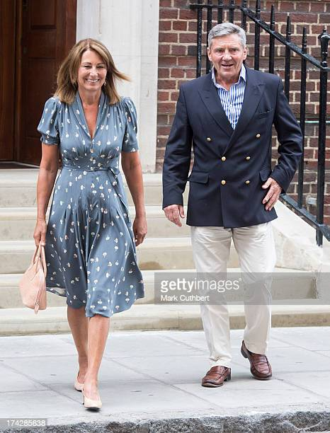 Michael Middleton and Carole Middleton leave St Mary's Hospital after seeing The Duke and Duchess of Cambridge's son at The Lindo Wing on July 23...