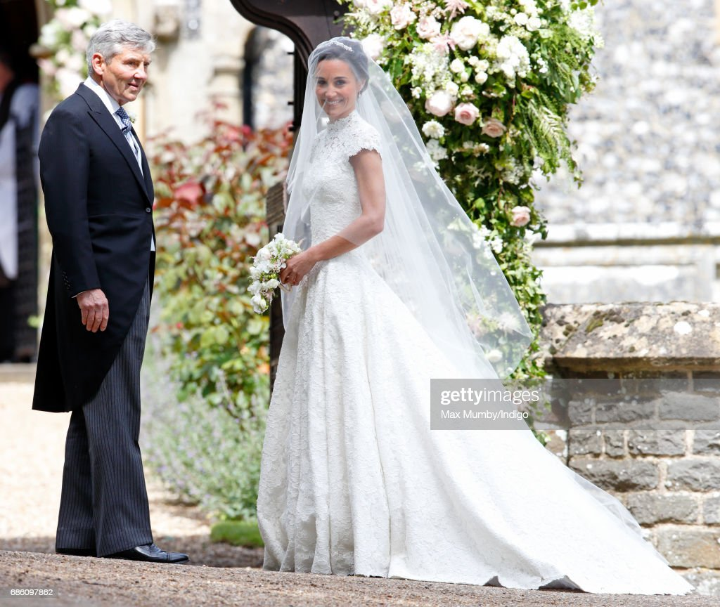 Michael Middleton and Pippa Middleton arrive at St Mark's Church for her wedding on May 20, 2017 in Englefield Green, England.