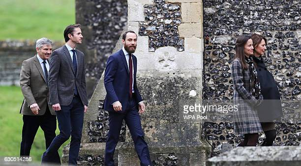 Michael Middleton James Matthews James Middleton Pippa Middleton and Carole Middleton arrive to attend the service at St Mark's Church on Christmas...