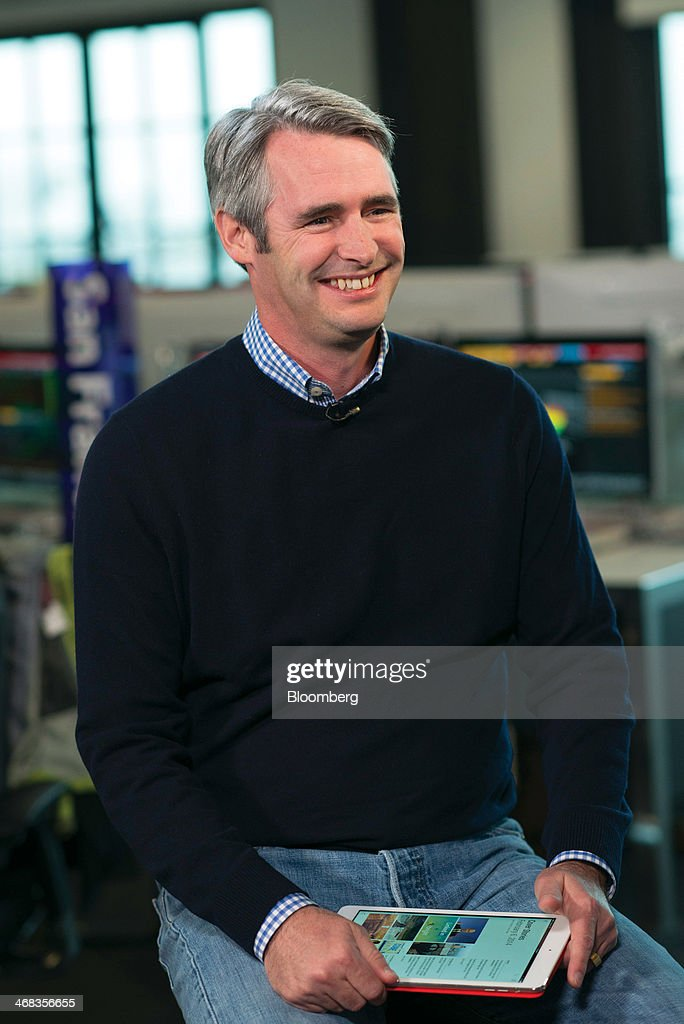 Michael 'Mike' McCue, co-founder and chief executive officer of Flipboard Inc., smiles during a Bloomberg West Television interview in San Francisco, California, U.S., on Thursday, Feb. 6, 2014. Flipboard Inc. offers software that collects the content of social media and other websites and presents it in magazine format for use on mobile devices. Photographer: David Paul Morris/Bloomberg via Getty Images
