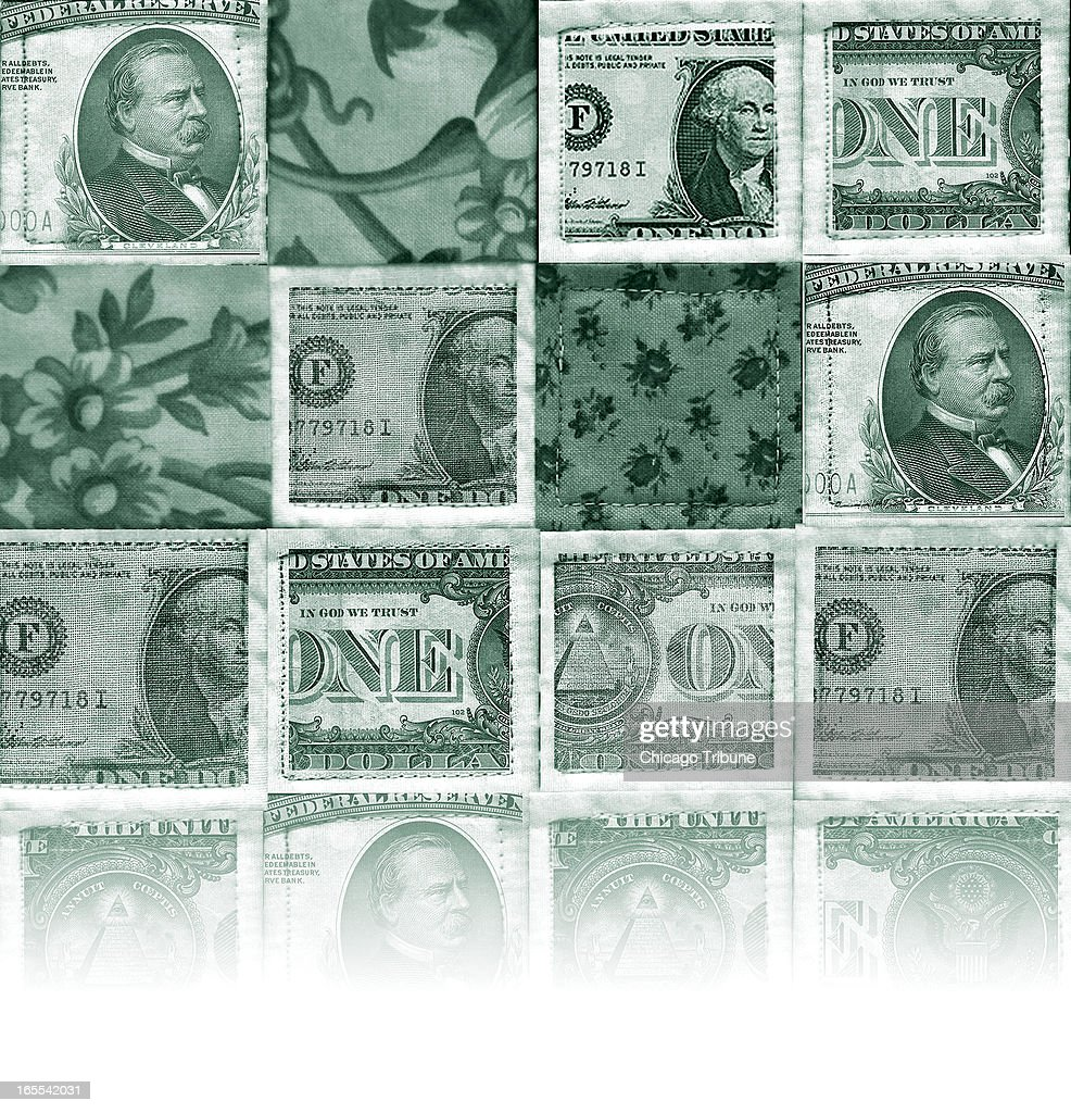Michael Miner color illustration of a quilt made up of US currency