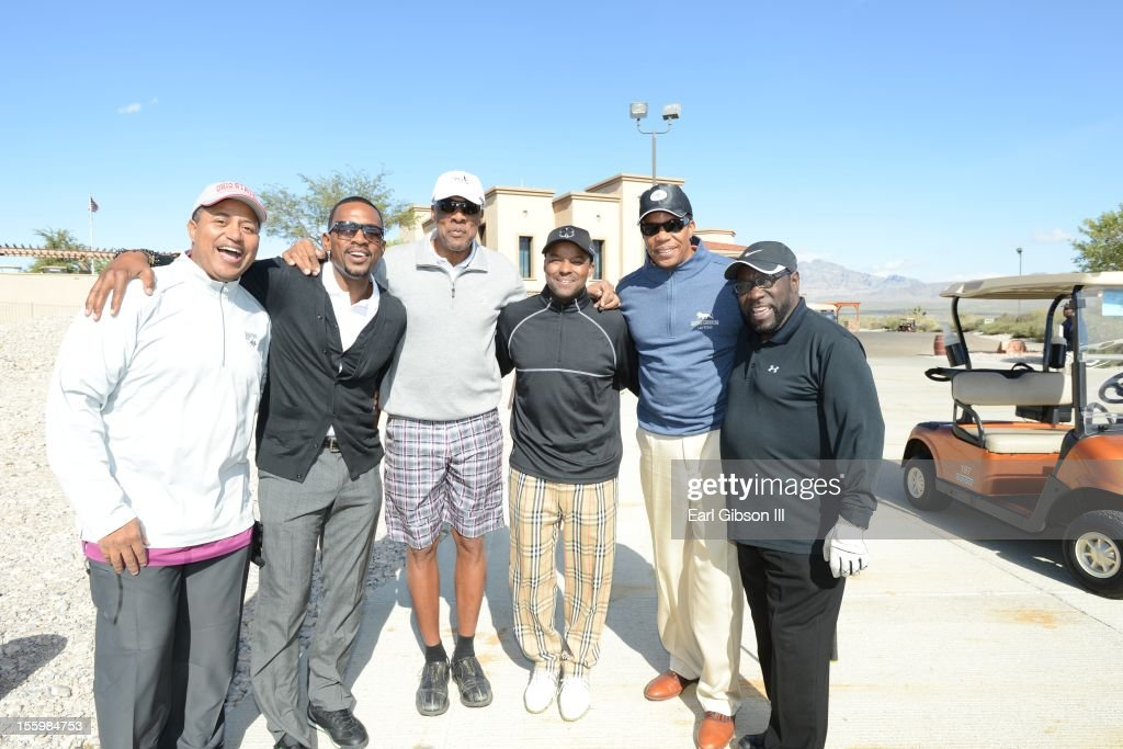 Michael Mitchell, Bill Bellamy, Julius 'Dr. Jay' Erving, Kenard Gibbs, Tony Cornelius and Eddie Levert pose for a photo at the First Annual Soul Train Celebrity Golf Invitational on November 9, 2012 in Las Vegas, Nevada.