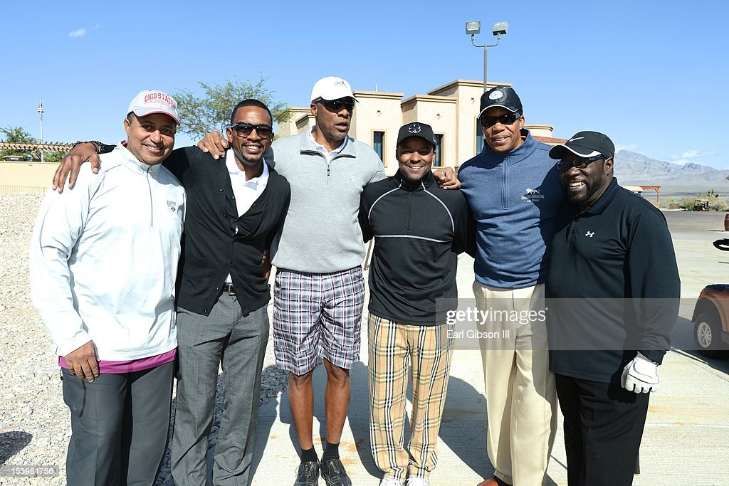 Michael Mitchell, Bill Bellamy, Julius 'Dr. Jay' Erving, Kenard Gibbs, Tony Cornelius and Eddie Levert pose for a photo at the First Annual Soul Train Celebrity Golf Invitational at on November 9, 2012 in Las Vegas, Nevada.