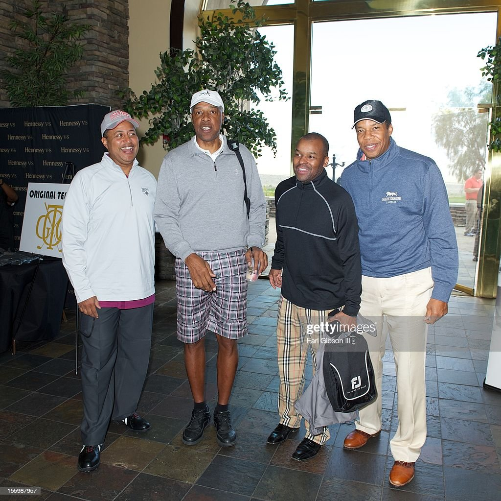 Michael Mitchell, Julius 'Dr. Jay' Erving, Kenard Gibbs and Tony Cornelius pose for a photo at the First Annual Soul Train Celebrity Golf Invitational on November 9, 2012 in Las Vegas, Nevada.