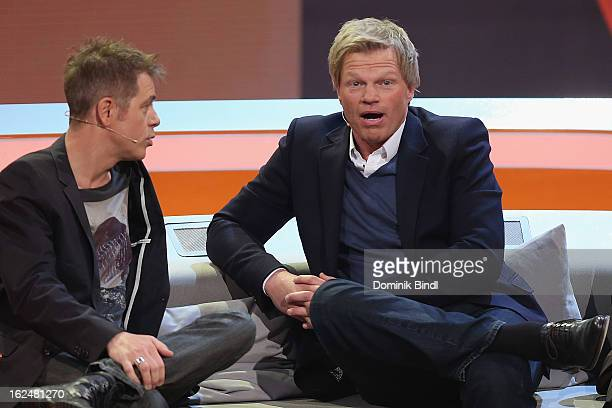 Michael Mittermeier and Oliver Kahn attend 'Wetten dass' from Friedrichshafen on February 23 2013 in Friedrichshafen Germany