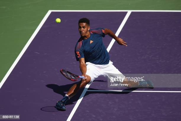 Michael Mmoh of USA in acton against Nicolas Mahut of France at Crandon Park Tennis Center on March 22 2017 in Key Biscayne Florida