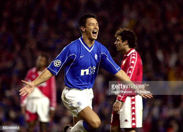 Michael Mols scores the second goal for Rangers during their UEFA Champions league football match against AS Monaco at the Ibrox stadum in Glasgow...
