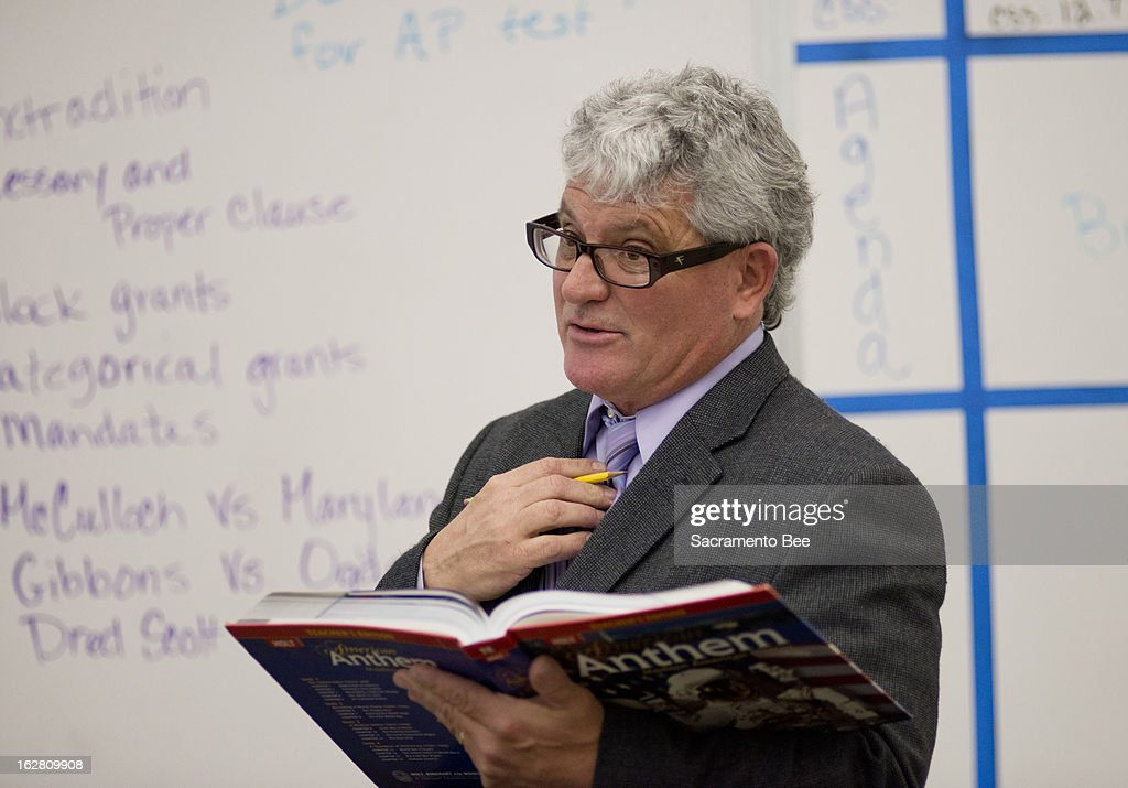 Michael Monk does his student teaching in an 11th-grade U.S. history class Thursday at West Campus High School, a Sacramento, California, magnet school. Monk, 52, has turned to teaching as a new career after his construction company went under during the recession.