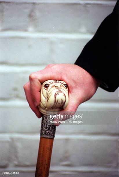 Michael Moorcroft walking stick specialist at Phillips Auctioneers displays a 19th century ivory mounted Dog Walking Cane * The cane expected to...