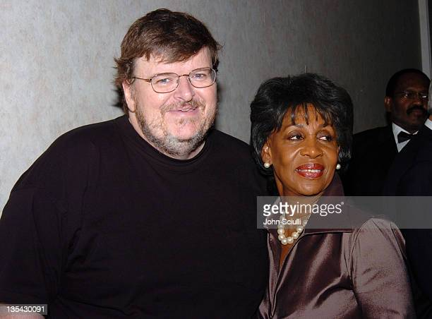 Michael Moore and Congresswoman Maxine Waters during Rainbow Push Coalition Dinner to Celebrate Rev Jesse Jackson at Beverly Hilton Hotel in Beverly...