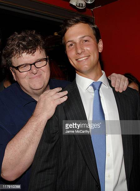 Michael Moore and Jared Kushner during 'Sicko' New York City Premiere Reception at Ziegfeld Theater in New York City New York United States