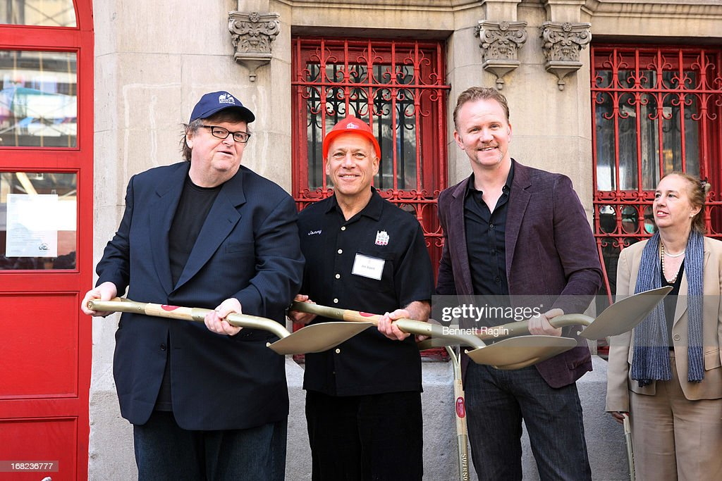 Michael Moore, <a gi-track='captionPersonalityLinkClicked' href=/galleries/search?phrase=Jon+Alpert&family=editorial&specificpeople=2283587 ng-click='$event.stopPropagation()'>Jon Alpert</a>, <a gi-track='captionPersonalityLinkClicked' href=/galleries/search?phrase=Morgan+Spurlock&family=editorial&specificpeople=212719 ng-click='$event.stopPropagation()'>Morgan Spurlock</a> attend the DCTV Cinema Groundbreaking Ceremony at DCTV on May 7, 2013 in New York City.