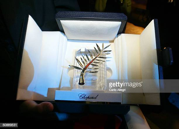 Michael Moore's Palme d'Or is seen at the Closing Ceremony Dinner hosted by MGM at the Palais de festival during the 57th Cannes Film Festival on May...