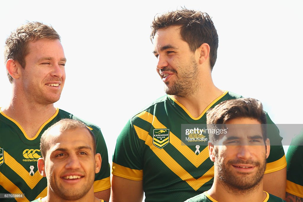 Michael Morgan, Blake Ferguson, Aidan Guerra and James Tamou pose for the team photo during the Australia Kangaroos Test team photo session at Crowne Plaza Coogee on May 2, 2016 in Sydney, Australia.
