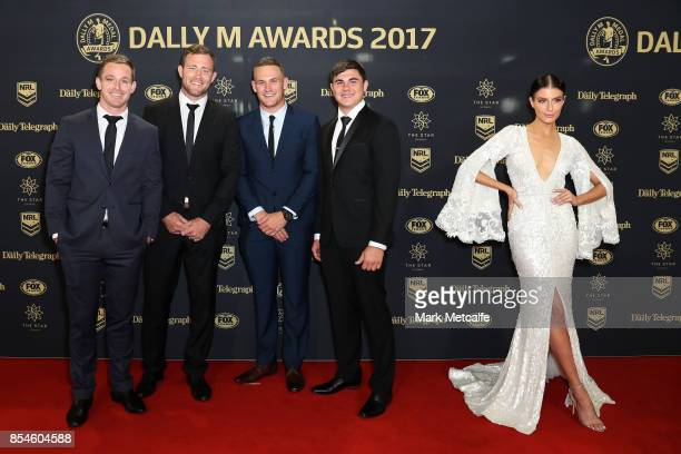 Michael Morgan Gavin Cooper Coen Hess and Jake Clifford of the Cowboys alongside Erin Holland arrive ahead of the 2017 Dally M Awards at The Star on...