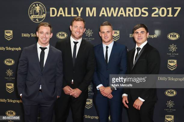 Michael Morgan Gavin Cooper Coen Hess and Jake Clifford of the Cowboys arrive ahead of the 2017 Dally M Awards at The Star on September 27 2017 in...