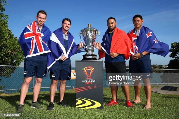 Michael Morgan of Australia Lachlan Coote of Scotland Jason Taumalolo of New Zealand and Suaia Matagi of Samoa pose with the Rugby League World Cup...