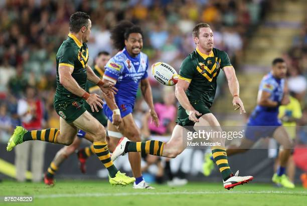 Michael Morgan of Australia passes during the 2017 Rugby League World Cup Quarter Final match between Australia and Samoa at Darwin Stadium on...