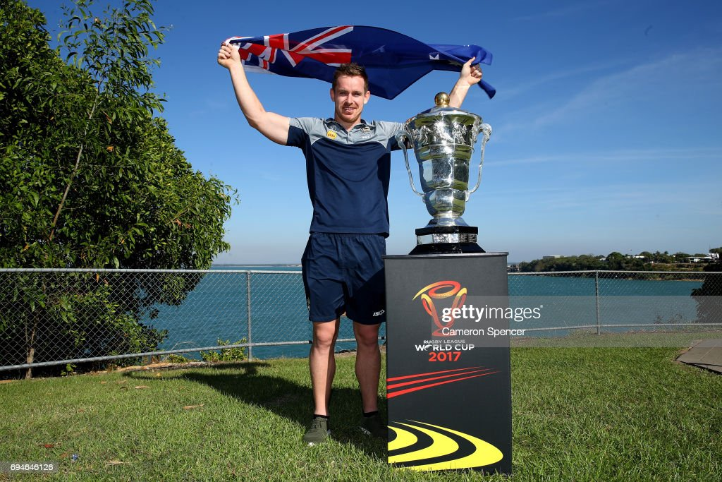 Michael Morgan of Australia poses with the Rugby League World Cup during a 2017 Rugby League World Cup Media Opportunity on June 11, 2017 in Darwin, Australia.