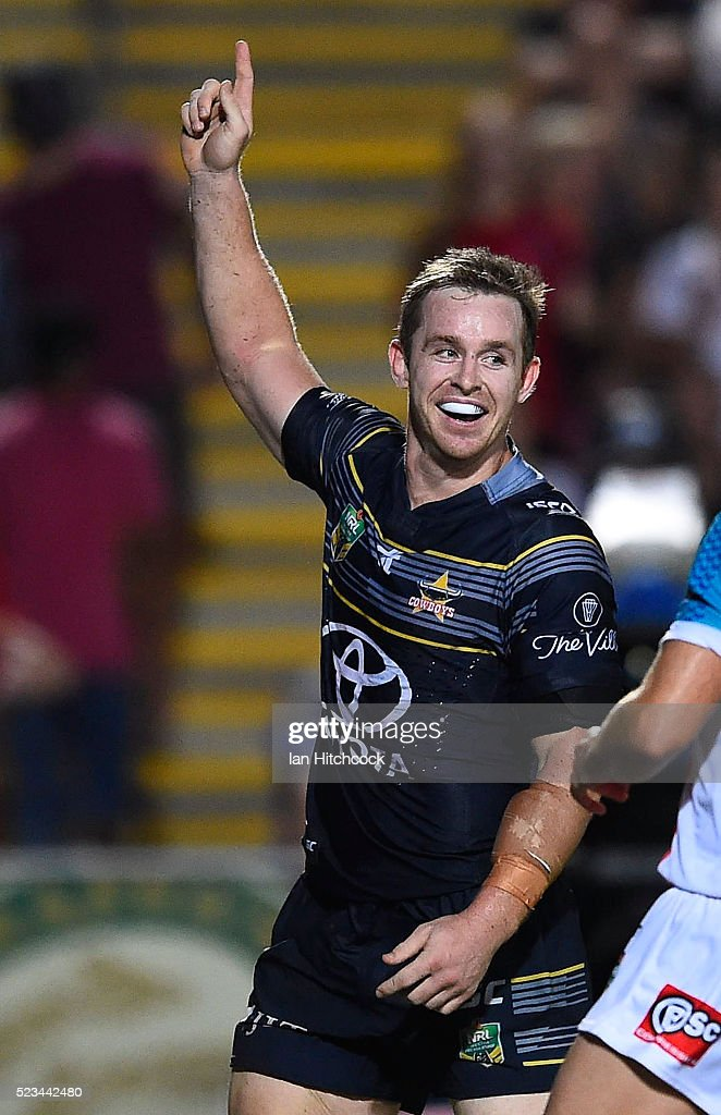 Michael Morgan of the Cowboys celebrates after scoring a try during the round eight NRL match between the North Queensland Cowboys and the Parramatta Eels at 1300SMILES Stadium on April 23, 2016 in Townsville, Australia.