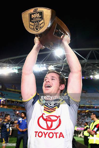 Michael Morgan of the Cowboys celebrates winning the 2015 NRL Grand Final match between the Brisbane Broncos and the North Queensland Cowboys at ANZ...