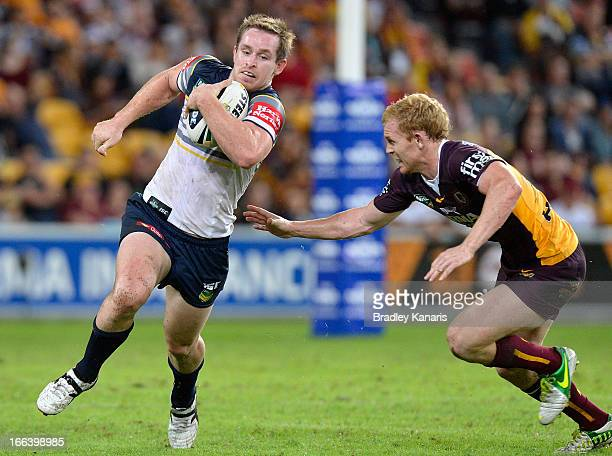 Michael Morgan of the Cowboys in action during the round six NRL match between the Brisbane Broncos and the North Queensland Cowboys at Suncorp...
