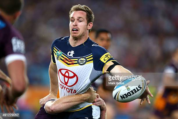 Michael Morgan of the Cowboys is tackled during the 2015 NRL Grand Final match between the Brisbane Broncos and the North Queensland Cowboys at ANZ...
