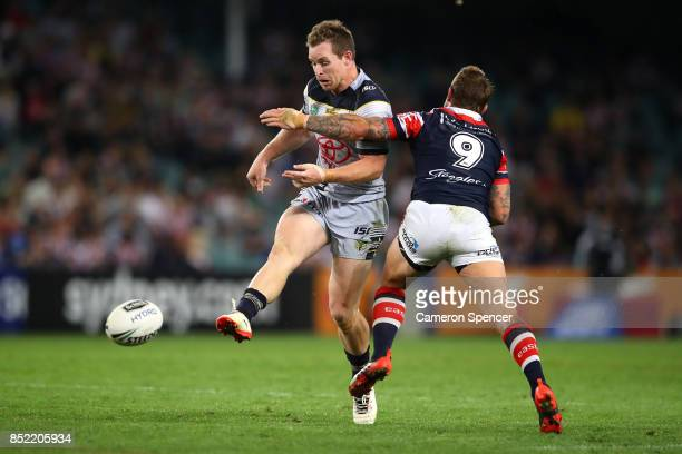 Michael Morgan of the Cowboys kicks ahead during the NRL Preliminary Final match between the Sydney Roosters and the North Queensland Cowboys at...