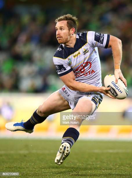 Michael Morgan of the Cowboys looks to pass during the round 17 NRL match between the Canberra Raiders and the North Queensland Cowboys at GIO...