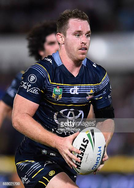 Michael Morgan of the Cowboys runs the ball during the round 11 NRL match between the North Queensland Cowboys and the Brisbane Bronocs at 1300SMILES...