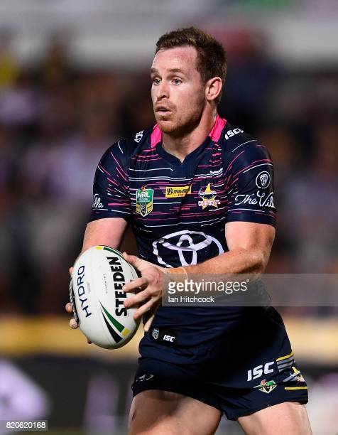 Michael Morgan of the Cowboys runs the ball during the round 20 NRL match between the North Queensland Cowboys and the New Zealand Warriors at...