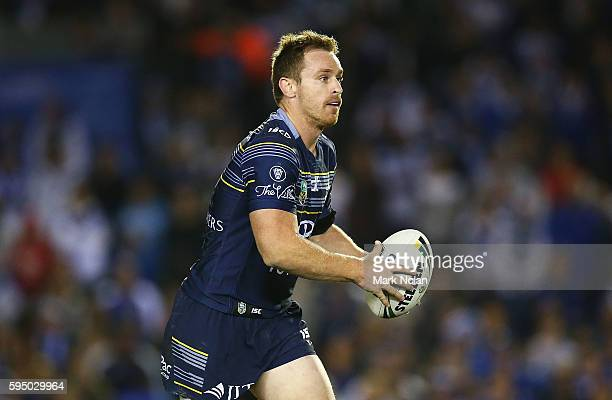 Michael Morgan of the Cowboys runs the ball during the round 25 NRL match between the Canterbury Bulldogs and the North Queensland Cowboys at Belmore...