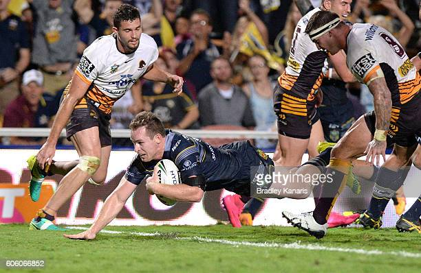 Michael Morgan of the Cowboys scores a try during the first NRL semi final between North Queensland Cowboys and Brisbane Brisbane at 1300SMILES...