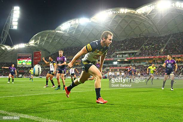 Michael Morgan of the Cowboys scores a try during the NRL Second Preliminary Final match between the Melbourne Storm and the North Queensland Cowboys...