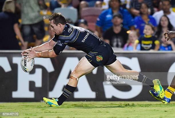 Michael Morgan of the Cowboys scores a try during the round eight NRL match between the North Queensland Cowboys and the Parramatta Eels at...
