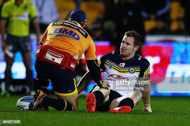 Michael Morgan of the Cowboys suffers an injury during the round 24 NRL match between the New Zealand Warriors and the North Queensland Cowboys at Mt...