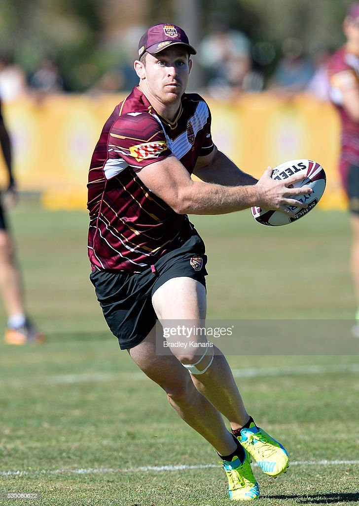 <a gi-track='captionPersonalityLinkClicked' href=/galleries/search?phrase=Michael+Morgan+-+Rugby+Player&family=editorial&specificpeople=11360648 ng-click='$event.stopPropagation()'>Michael Morgan</a> runs with the ball during a Queensland Maroons State of Origin training session on May 29, 2016 in Gold Coast, Australia.