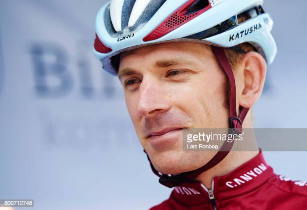 Michael Morkov of Team KATUSHA ALPECIN talking prior to the Elite Mens Road Race in the Danish Road Cycling Championships on June 25 2017 in...