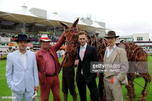 Michael Morpurgo and Benedict Cumberbatch stand alongside the War Horse puppet at Sandown Park