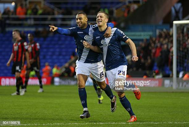 Michael Morrison of Birmingham City celebrates scoring his team's first goal with his team mate James Vaughan during the Emirates FA Cup Third Round...