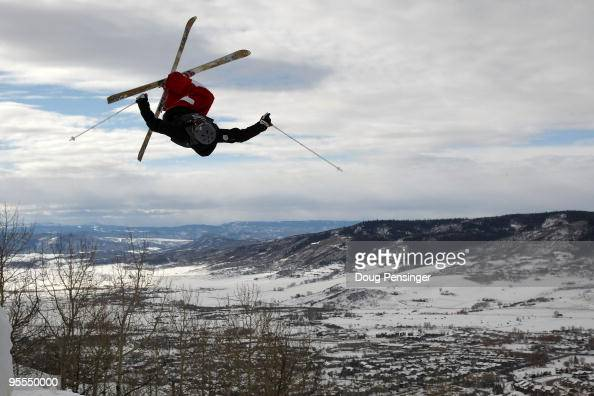 Michael Morse does an aerial during training on the mogul course at the US Freestyle Skiing Olympic Trials on December 22 2009 in Steamboat Springs...