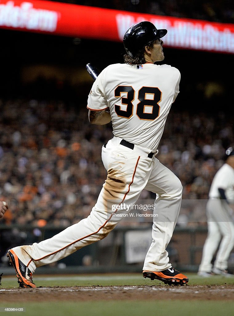 Michael Morse #38 of the San Francisco Giants hits a two-run double against the Arizona Diamondbacks in the bottom of the fifth inning at AT&T Park on April 10, 2014 in San Francisco, California. Pablo Sandoval and Buster Posey scored on the double.