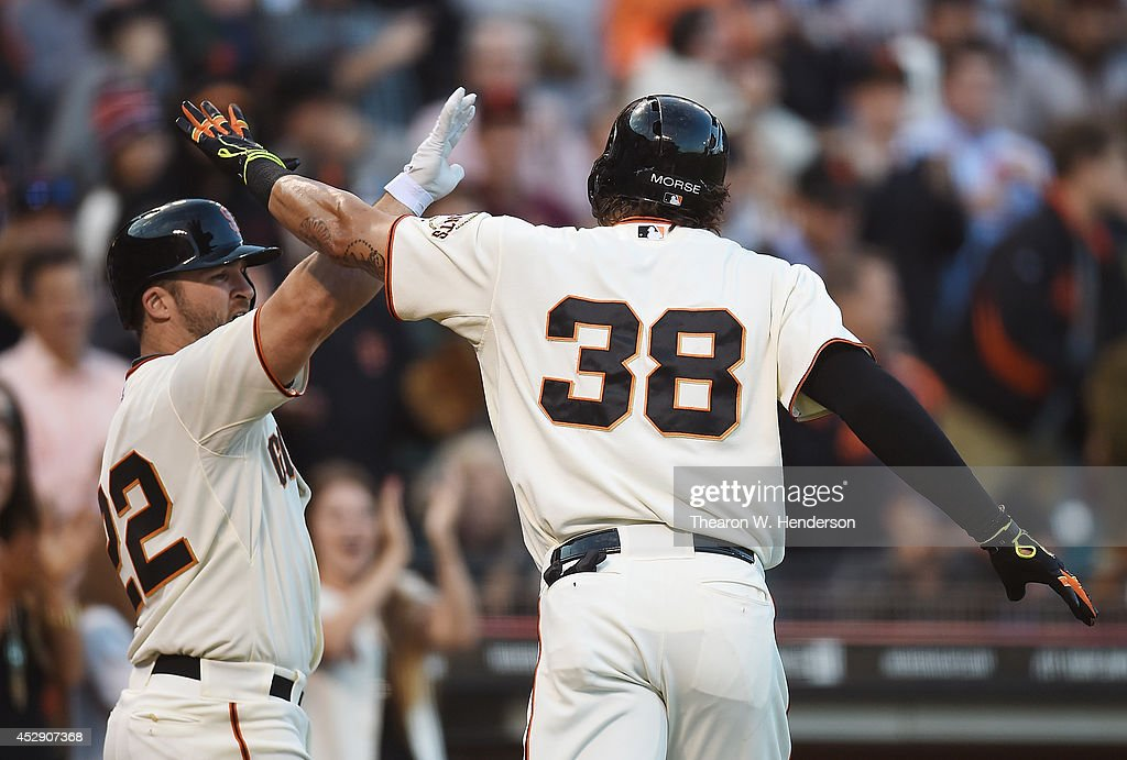 Michael Morse #38 of the San Francisco Giants is congratulated by <a gi-track='captionPersonalityLinkClicked' href=/galleries/search?phrase=Dan+Uggla&family=editorial&specificpeople=542208 ng-click='$event.stopPropagation()'>Dan Uggla</a> #22 after Morse hit a solo home run against the Pittsburgh Pirates in the bottom of the second inning at AT&T Park on July 29, 2014 in San Francisco, California.
