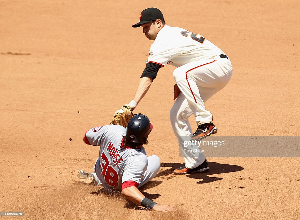 Michael Morse #38 of the Washington Nationals slides safely under the tag of <a gi-track='captionPersonalityLinkClicked' href=/galleries/search?phrase=Freddy+Sanchez&family=editorial&specificpeople=220611 ng-click='$event.stopPropagation()'>Freddy Sanchez</a> #21 of the San Francisco Giants to steal second base in the seventh inning at AT&T Park on June 8, 2011 in San Francisco, California. Morse scored later in the inning.